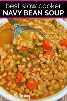 Learn how to make the best Slow Cooker Navy Bean Soup from dried beans! This easy crockpot recipe make a delicious, filling meal that's easy to prepare using white beans, carrots, celery Navy Bean Recipes, Bean Soup Recipes, Healthy Soup Recipes, Real Food Recipes, Yankee Bean Soup Recipe, Entree Recipes, Navy Bean Soup, White Bean Soup, White Beans