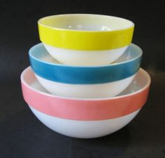 Fire King Glass White Colonial Band Mixing Bowls Pastel Colors Full Set of 3
