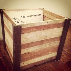 Reclaimed Wood Record Crate or Vinyl Storage by PaperishMessMade, $55.00: