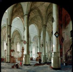 """Interior of the Pieterskerk in Leiden"" by Hendrick Cornelisz van Vliet. 1653 oil on canvas. I wonder why so many of these Dutch paintings of church interiors show dogs urinating. In the collection of The John and Mable Ringling Museum, Sarasota, FL."