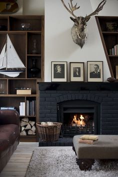 Dorset Cottage on Behance, black fireplace. Could be used in city town house to give vintage feel
