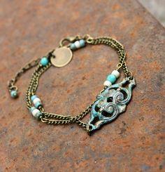 Bracelet gourmette double tours turquoise patiné : Bracelet par les-3-oranges