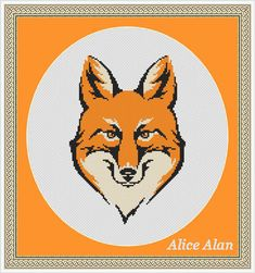 Fox head monochrome design Counted Cross Stitch от HallStitch