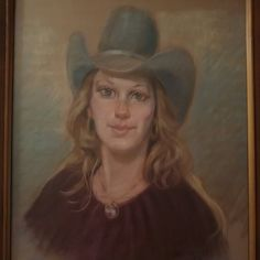 Chalk Original Painting With Original Frame Pastel Chalk Original Painting of A REAL COWGIRL BACK IN 1979 Panited Designed At HLSR & Astrodome! A Rare And A One Of A Kind❤💋WILD AT HEART ❤ Accessories
