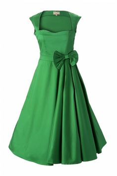 Summer Bridesmaid Dress. Lindy Bop - 1950's Grace Green Bow vintage style swing party rockabilly. bow gets in the way of bouquet so remove it, although the pleating does begin from there...