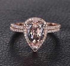 Pear Morganite Engagement Ring Bridal Set Pave Diamond Wedding 14K Rose Gold 8x12mm