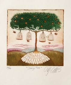 Have you ever hugged a tree? If not, don't you feel like hugging this one? It looks like it wants to hug you back! 'The Daisy Tree', etching by Mariann Johansen Ellis. http://kindergallery.com/product/daisy-tree/ Kindergallery, your online fine art gallery for children.