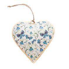 Blue Butterfly Metal Hanging Heart