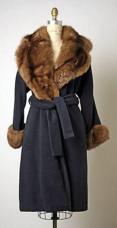 Coat, Design House: Bill Blass Ltd. (American, founded 1970) Designer: (a–d) Bill Blass (American, Fort Wayne, Indiana 1922–2002 New Preston, Connecticut) Designer:  Adolfo (American, born Cuba, 1933) Date: early 1980s Culture: American Medium: cashmere, sable