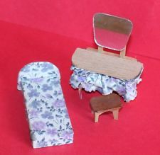 Vintage Dolls House Dol Toi Floral Bed Dressing Table and Stool Ref KM0810