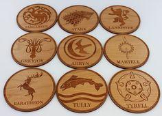 Custom Wood Coasters Set Game of Thrones Family / by ShopFroolu