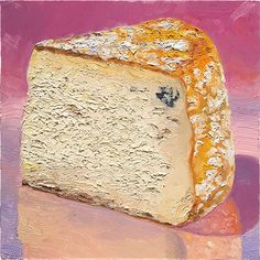 """Ivory Bell""  is a fairytale princess of #cheese. This washed-rind, semi-firm raw milk cheese, is a bit of an anomaly in that it was intended to be ""Blue Bell"" but the entire batch was born a bit more pure, virtually blue-free, from Valley Milkhouse  in Berks county, PA  #cheeseportrait #cheesepainting #cheeseart #foodart  8x8"" oil on panel, available at http://mikegeno.com/catalog/art_viewer.php?artworkID=307&sortBy=0&category=1&startNum=51"