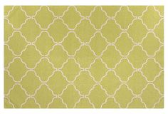 Algin Flat-Weave Rug, Green/Ivory on OneKingsLane.com