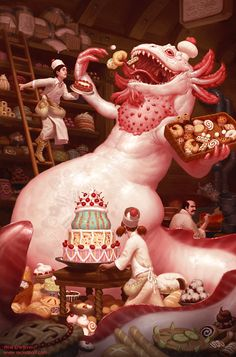 Monster in a cake shop