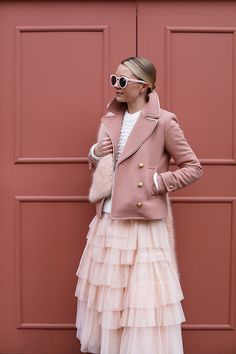 Pink and ready to party! // A pearl sweater, J.Crew coat and ASOS skirt