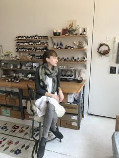 Briar of Etsy shop Marble and Milkweed in her NYC studio.