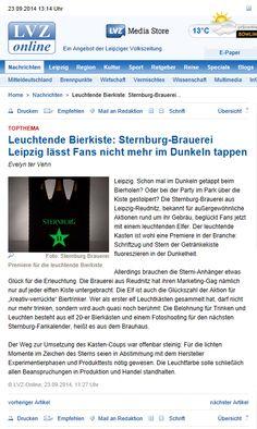 Die LVZ hat unsere Leuchtelfer entdeckt. Wer genaueres dazu erfahren will, kann hier nachlesen: http://www.lvz.de/Leipzig/Boulevard/Leuchtende-Bierkiste-Sternburg-Brauerei-Leipzig-laesst-Fans-nicht-mehr-im-Dunkeln-tappen #Sternburg #Design #wow