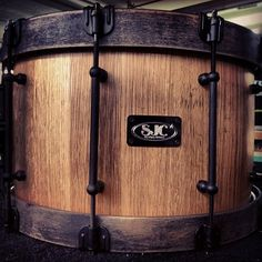 oak barrel stave (made from old whiskey and wine fermenting barrels) w/ Weathered ghost black satin stain claw style wood hoops - SJC Oldest Whiskey, Drum Music, Snare Drum, Drummers, Wine Making, Barrels, Black Satin, Wood, Sweet