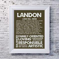 LANDON Personalized Name Print / Typography Print / by OhBabyNames