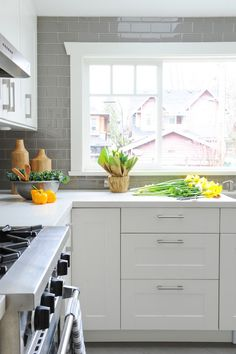 White Kitchen with Grey Backsplash, Transitional, Kitchen