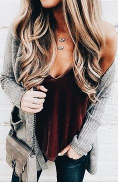 Burgundy velvet tank with gray cardigan sweater