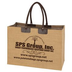 Jute Tote with Brown Handles. New and just in time for the holidays!  Large imprint area to showcase your brand. #jute, #jutetotes, #jutebags, #totes, #bags, #gifts, #giftideas, #christmas, #ecofriendly