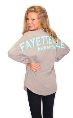 Fayetteville Arkansas Spirit Jersey - grey & mint by Riffraff What I Wore, What To Wear, Fayetteville Arkansas, Memphis Tigers, Summer Outfits, Cute Outfits, Spirit Jersey, Cool Style, My Style