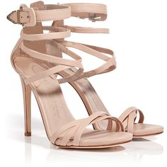 LE SILLA Nude Leather Strappy Sandals ($905) ❤ liked on Polyvore featuring shoes, sandals, heels, sapatos, high heels, sexy strappy sandals, high heel sandals, leather strappy sandals, high heels stilettos and high heel shoes