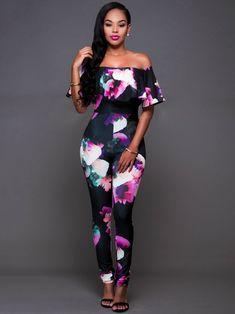 97440d2e27b0 Bohemian Print Slash Neck Jumpsuits Pants. Floral PlaysuitFloral JumpsuitPant  ...