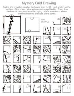 Drawing activity to teach the grid method. Requires a - 1 inch grid.) ---Elementary: lower the number of boxes, maybe just Art Sub Lessons, Drawing Lessons, Art Sub Plans, Art Lesson Plans, Middle School Art, Art School, Classe D'art, Art Handouts, Drawing Activities