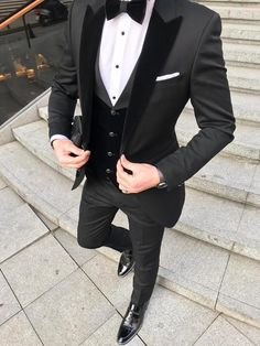 Custom Black Terno Masculino Slim Fit Men Suits Blazers Groom Wedding Tuxedos Peaked Lapel With Velvet Vest Coat Pants - Wedding suits - Slim Fit Tuxedo, Tuxedo Suit, Tuxedo For Men, Slim Suit, Tuxedo Dress, Tuxedo Cake, Tuxedo Shoes, Party Suit For Man, Party Suits