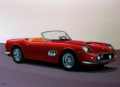 Realistic acrylic painting of the Ferrari 250 GT California, painted by the Dutch fine artist Paul Meijering - the Original painting is 120 x 90 cm and for sale