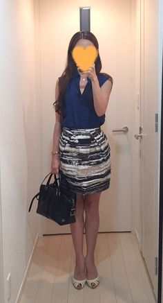 Silk shirt: Uniqlo, Skirt: Macphee, Bag: Tod's, Pumps: Number Twenty