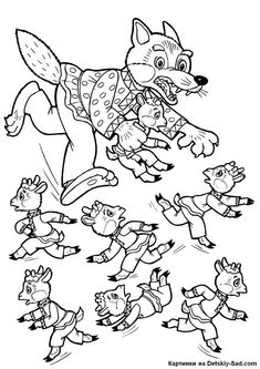 Színező Wolf és a hét kis gyerekek Free Coloring Pages, Coloring For Kids, Coloring Books, Wolf, Hidden Picture Puzzles, Fairy Tale Activities, Discovery Toys, Three Little Pigs, Winter Kids