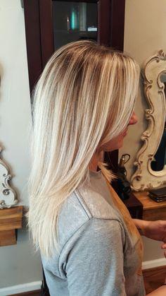 Blonde balayage root smudge #theredheadedstylist