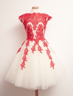 2015 vintage red white high neck short sleeves lace short prom dress for teens, ball gown, homecoming dress, evening dress #promdress