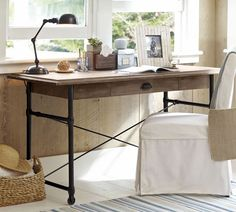 Warren Desk | Pottery Barn - I want to make this desk for the house. Should be able to find all the supplies at Home Depot...