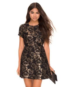 Cheeky Cut Out Dress in Flower Jacquard Bronze by Motel