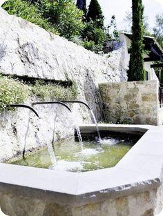 French fountains for backyard wall Stone Fountains, Garden Fountains, Garden Pool, Water Garden, Living Haus, Water Spout, Water Features In The Garden, Mediterranean Garden, Garden Structures