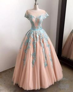 Champagne tulle lace a line long prom dress, lace tulle long evening dress, sweet 16 dresses