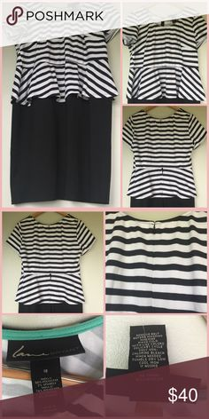 Lane Bryant   White Black Striped Peplum Dress Brand: Lane Bryant (NWT) Print: Stripe Top, Solid Skirt Feature: No Lining, Non-sheer, Peplum Size: 18 Fabric: Polyester,  Rayon, Spandex Measurements: (inches) Chest Width: 23 Shoulder: 16 Waist (flat across): 20 Length: 38 (shoulder to hem) Care: Machine Wash Cold, Tumble Dry Low Condition: NWT, never worn Disclaimer: All measurements are approximate and the fit may vary based on manufacturer.  Note that no two people will measure an item the…