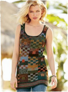 Intarsia knit in a spectrum of richly hand-tweeded hues by Kaffe Fassett