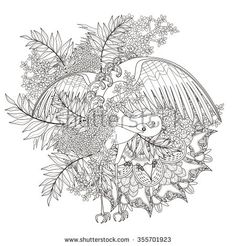 elegant crane coloring page with floral elements in exquisite line