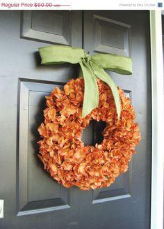 Pumpkin Fall Wreath Fall Hydrangeas Pumpkin by ElegantWreath, $81.00