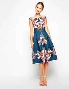 Agrandir ASOS - Robe vintage mi-longue style Bardot