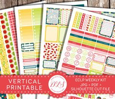Summer Planner Stickers, VERTICAL ECLP Stickers, Printable Planner Stickers, Printable Fruit Lemonade Watermelon Pineapple Lemon Stickers Bright Yellow Green Red Silhouette JPG