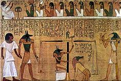 The Papyrus of Ani is a papyrus manuscript with cursive hieroglyphs and color illustrations created c. 1250 BCE, in the dynasty of the New Kingdom of ancient Egypt. Ancient Egypt Books, Ancient History, Art History, Egyptian Mythology, Egyptian Art, Papyrus, Book Of The Dead, Anubis, Gods And Goddesses
