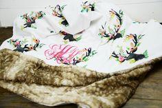 Floral Deer Minky Faux Fawn Fur baby blanket, baby swaddle, custom rustic baby bedding, faux fur throw blanket rustic nursery, floral antler by TheCozyTot on Etsy https://www.etsy.com/listing/473959571/floral-deer-minky-faux-fawn-fur-baby