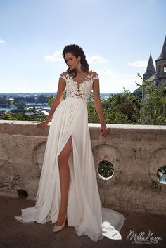 White chiffon lace long wedding dresses, prom dress