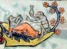 Mittelalterliche Persiflage auf die Heilkunde: ein Affe als Arzt am Bett eines erkrankten Tieres bei der Harnschau.  Drôlerie im Macclesfield-Psalter (Cambridge, Fitzwilliam Museum, MS 1-2005), England um 1340, folio 22r